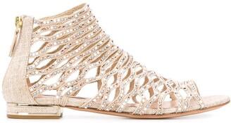 Casadei Crystal-Embellished Open Toe Sandals