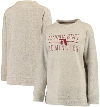 Women's Pressbox Cream Florida State Seminoles Comfy Terry Crew Sweatshirt
