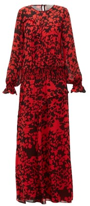 Preen Line Esme Floral-print Pintucked Maxi Dress - Black Red