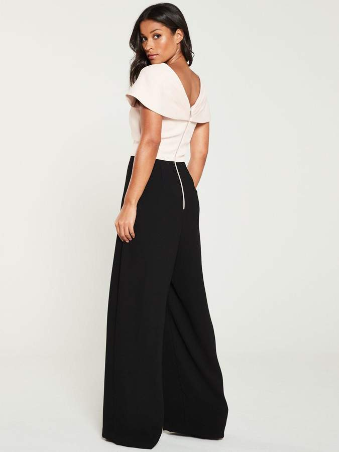 Very Bow Front Contrast Wide Leg Jumpsuit - Blush/Black
