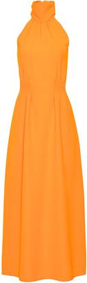 Lela Rose Fluid Crepe Halter Midi Dress