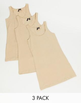 Vero Moda 3 pack of vests in tan