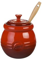 Le Creuset Stoneware 16 oz Barbecue Pot w/ Silicone Brush, Cherry