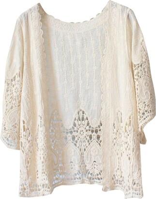 Laozan Womens Lace Crochet Floral Cardigan Pool Beach Dress Bikini Cover Up White