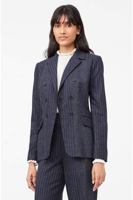Rebecca Taylor Tailored Mixed Pinstripe Suiting Blazer