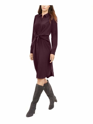 Alfani Womens Burgundy Solid Long Sleeve Collared Below The Knee Shirt Dress Dress UK Size:18