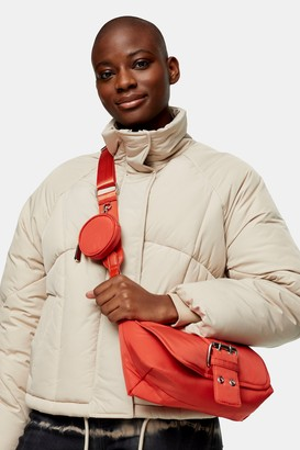 Topshop CONSIDERED Rust Buckle Nylon Cross Body Bag