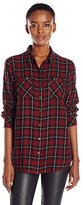 BCBGeneration Women's Button Plaid Shirt