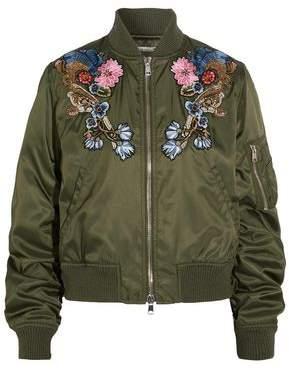 Alexander McQueen Appliqued Shell Bomber Jacket