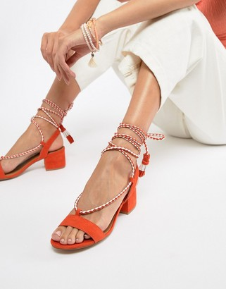 Qupid Tie Leg Mid Heeled Sandals