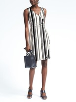 Banana Republic Stripe Knit Wrap-Effect Dress