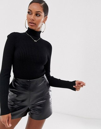 ASOS DESIGN roll neck sweater in fine knit rib