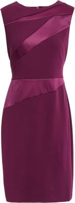 DKNY Satin Twill-paneled Stretch-crepe Dress