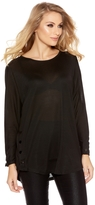Quiz Black Light Knit Button Side Top