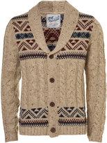 Topman Cream Yoke Pattern Cable Knit Cardigan