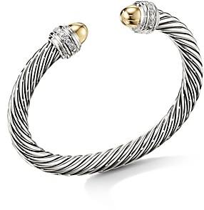 David Yurman Cable Bracelet with 14K Yellow Gold Dome & Diamonds