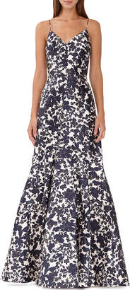ML Monique Lhuillier Floral Silhouette Mikado Gown