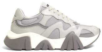 Versace New Squalo Leather And Mesh Trainers - Mens - Grey