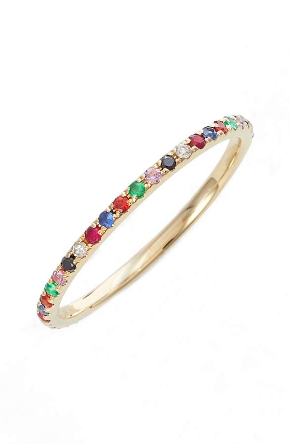 Ef Collection Rainbow Precious Gem Stack Ring
