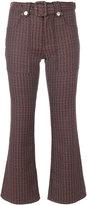 MM6 MAISON MARGIELA Morrison's jacquard 70's cropped trousers - women - Cotton/Polyester/Spandex/Elastane - 38