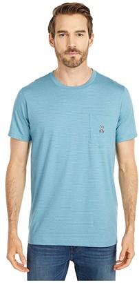 Psycho Bunny Wolcott Pocket Tee Shirt (Adriatic) Men's Clothing