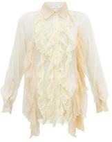Burberry Ruffled Pleated Silk-crepe Blouse - Womens - Cream