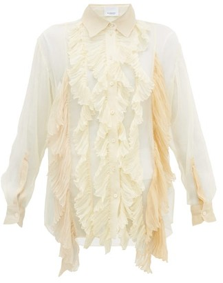 Burberry Ruffled Pleated Silk-crepe Blouse - Womens - Cream