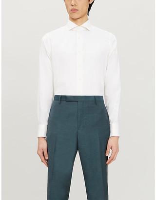 Canali Herringbone-print slim-fit cotton shirt