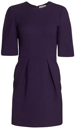 Alexander McQueen Wool & Silk Pleated Mini Dress