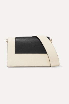 Valextra Swing Two-tone Textured-leather Shoulder Bag - Black