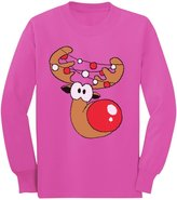 TeeStars Cute Reindeer Face Boy / Girl Christmas Toddler/Kids Long sleeve T-Shirt