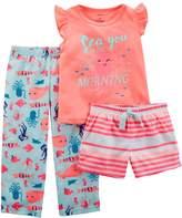"Carter's Toddler Girl Sea You In The Morning"" Top, Shorts & Pants Pajama Set"