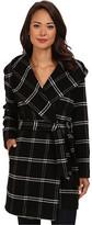 Lauren Ralph Lauren Windowpane Plaid Hooded Wrap Coat