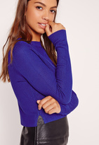 Missguided Skinny Ribbed Sweater Cobalt Blue