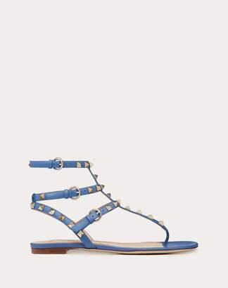 Valentino Garavani Rockstud Calfskin Leather Flip Flop Sandal Women Light Ivory Calfskin 100% 37.5