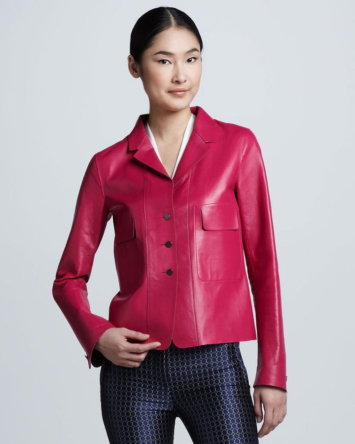 Elie Tahari Tina Leather Jacket
