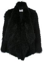 Yves Salomon shawl lapel coat - women - Polyamide/Polyester/Spandex/Elastane/Marmot Fur - 36