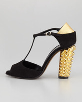 Fendi Polifonia Stud-Heel Suede T-Strap Pump, Black/Gold