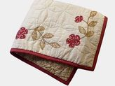 Martha Stewart Cabin Flowers Ivory/red Handcrafted Quilted Standard Pillow Sham