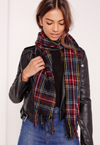 Missguided Check School Scarf Black