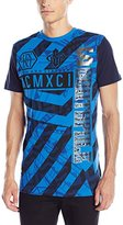 Southpole Men's Short Sleeve Foil and Screen Print T-Shirt with Zebra Like Patterns