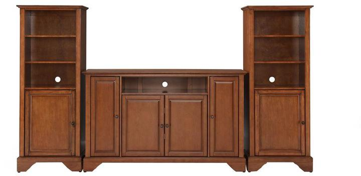 Crosley LaFayette TV Stand and 2-Audio Piers in Cherry