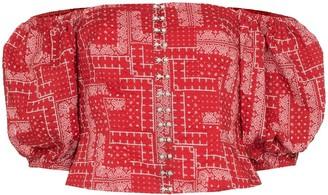 Shrimps Tex off-the-shoulder bandana print top