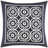 Kate Spade Folk Art Beaded Medallion-Embroidered Linen Feather Square Pillow