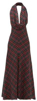A.W.A.K.E. Mode Samhain Cowl-neck Tartan Maxi Dress - Womens - Red Multi