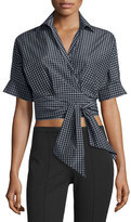 Michael Kors Short-Sleeve Windowpane Wrap Blouse, Black/White