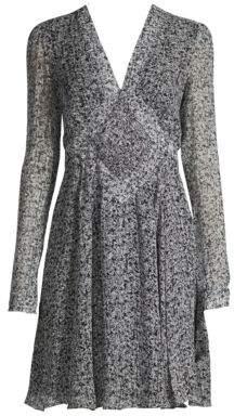 Derek Lam Smocked Long-Sleeve Silk A-Line Dress