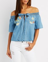 Charlotte Russe Embroidered Chambray Off-The-Shoulder Top