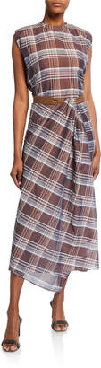 Brunello Cucinelli Plaid Sleeveless Long Dress w/ Grosgrain Belt
