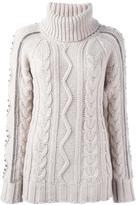 Giada Benincasa - turtleneck cable knit jumper - women - Wool - XS